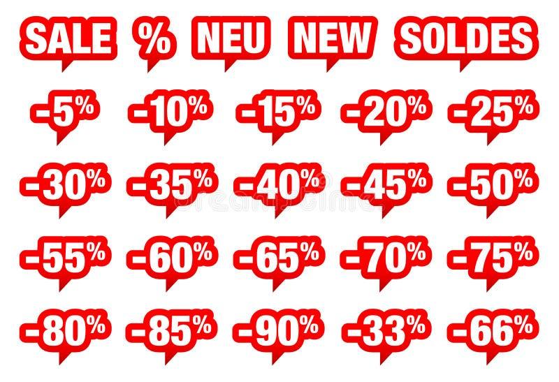 Ställ in av röda anförandebubblor Sale negativ och olika ord vektor illustrationer