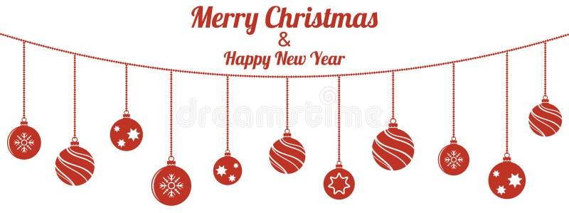 Ställ in av röda julbollar som hänger på vit bakgrund vektor illustrationer