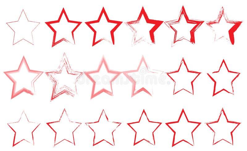Ställ in av röda olika stjärnor arton stycken på vit bakgrund royaltyfri illustrationer