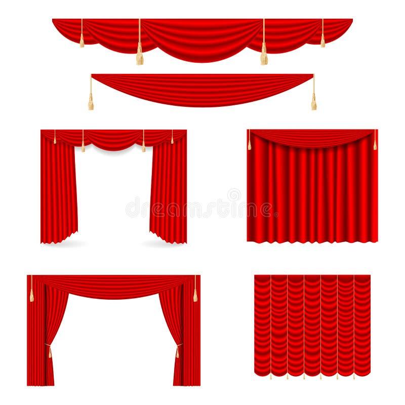 Ställ in av röda siden- gardiner med ljus och skuggor av det öppet och stängt Lyxiga scharlakansröda röda siden- sammetgardiner stock illustrationer
