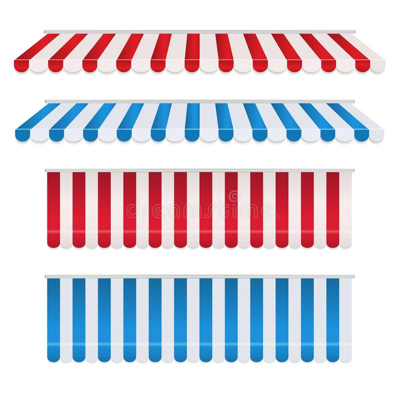 Ställ in av rött, och shoppar färgrika markiser för den vita, blåa och vita remsan för Tältparasoll för marknaden som isoleras på stock illustrationer