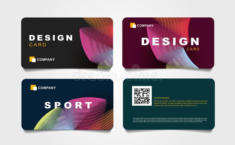 Ställ in av rabattkort med den abstrakta bakgrunden av krökta färgglade linjer med sport- och designtypografi royaltyfri illustrationer