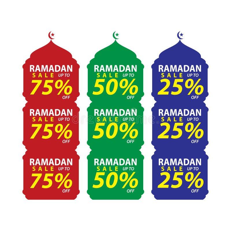 Ställ in av Ramadan Sale Design Vector, den modern mallen som är passande för hälsningkort, baner och affisch vektor illustrationer