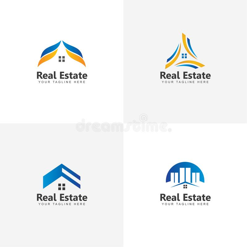 Ställ in av Real Estate Logo Vector Design Inspiration royaltyfri illustrationer