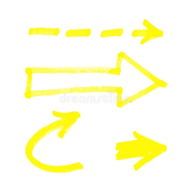 Ställ in av realistisk stil för gula utdragna markörpilar för hand vektor illustrationer
