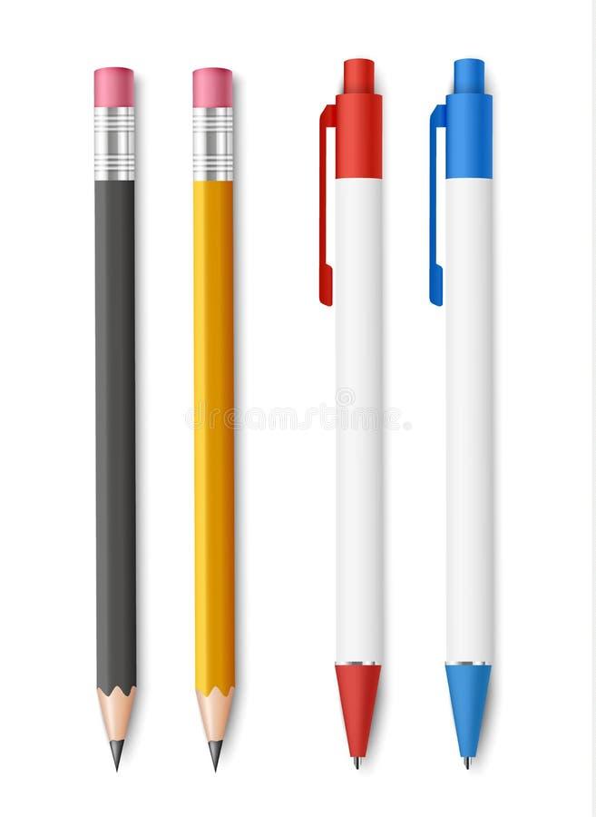 Ställ in av realistiska blyertspennor med radergummit och blåa och röda pennor som isoleras på vit bakgrund arkivfoton