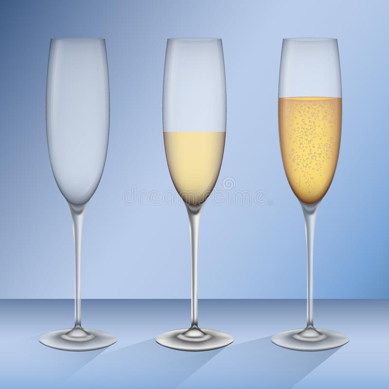 Ställ in av realistiska galasses, tomt och med champagne stock illustrationer