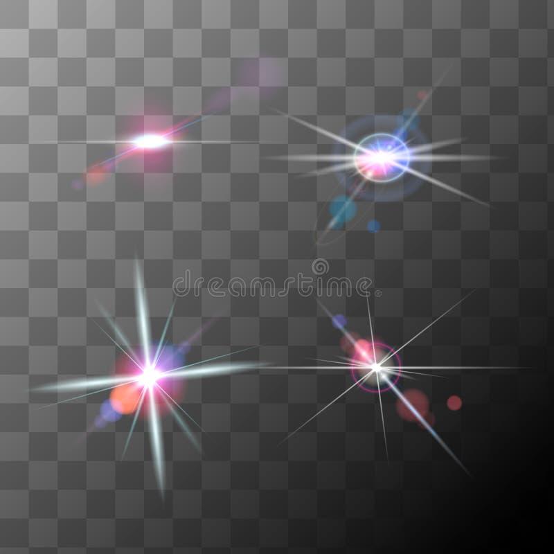Ställ in av realistiska högkvalitativa linssignalljus, vektor stock illustrationer
