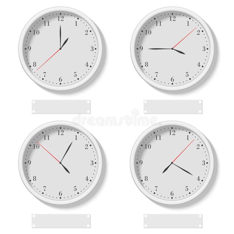 Ställ in av realistiska klassiska runda klockor som visar olik tid Världsstämpelur, olik tidszonvektorillustration royaltyfri illustrationer