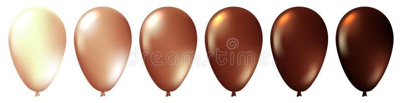 Ställ in av realistiska monokromma isolerade bruna ballonger Mall för ett affärskort, baner, affisch, anteckningsbok, inbjudan royaltyfri illustrationer