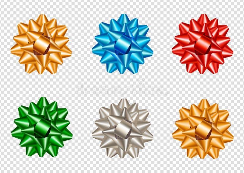 Ställ in av realistiska och färgrika stjärnapilbågar vektor illustrationer