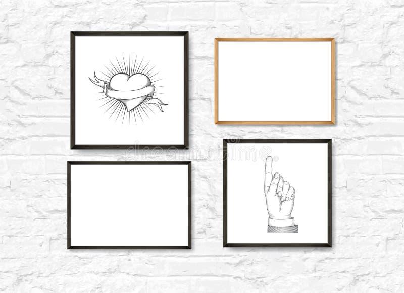 Ställ in av realistiskt ljus och mörka träbildramar på en vit tegelstenvägg med affischer royaltyfri illustrationer