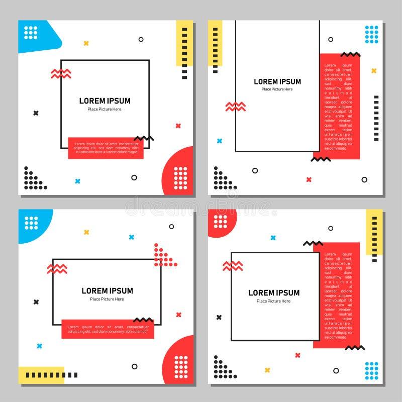 Ställ in av redigerbar fyrkantig banermall Redigerbart baner för sociala massmediastolpe- och rengöringsduk-/internetannonser Red stock illustrationer