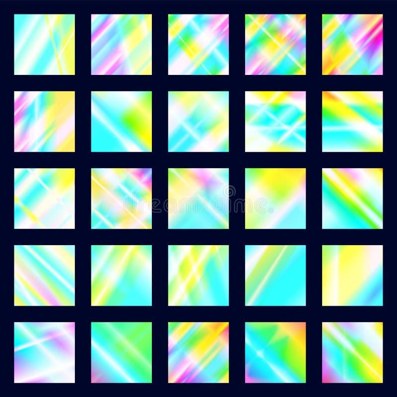 Ställ in av regnbågsskimrande diskotexturer Holographic prismabakgrunder Regnbågeglödreflexioner av ljus spridning och reflexione royaltyfri illustrationer