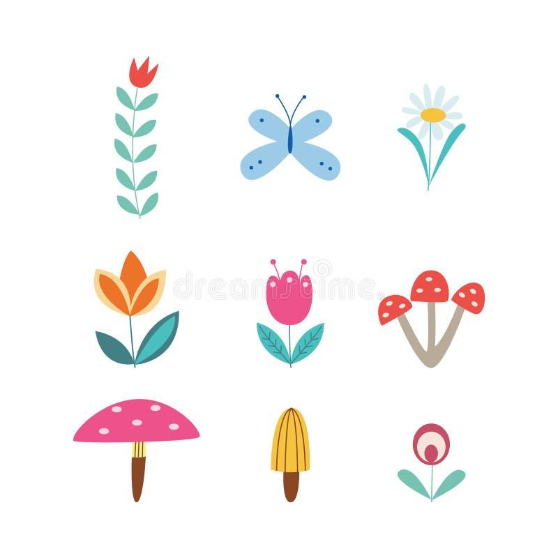 Ställ in av retro plana den isolerade vektorillustrationen för blommor, för fjärilen och för champinjoner stock illustrationer