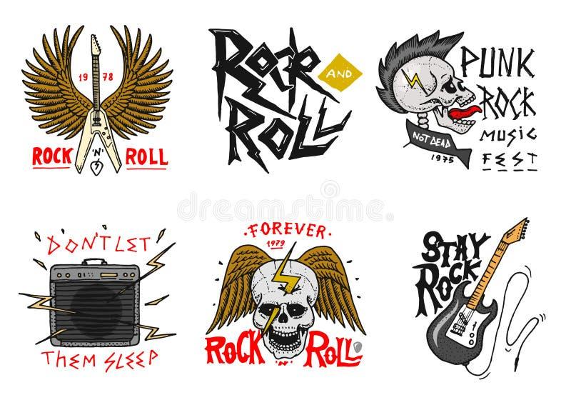 Ställ in av Rock - och - rullmusiksymboler med gitarren, vingar och skallen etiketter logoer Heavy metalmallar för designt-skjort stock illustrationer