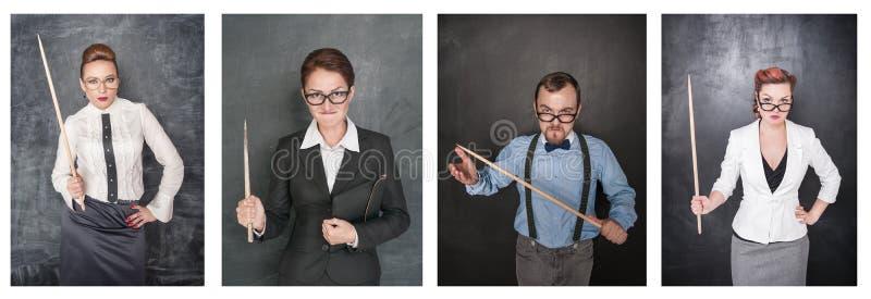 Ställ in av rolig ilsken lärare i glasögon med pekaren på svart tavla arkivfoton