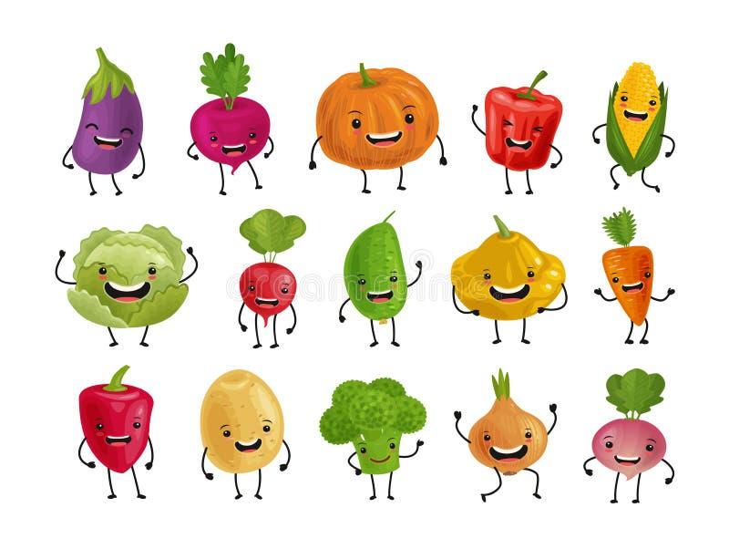 Ställ in av roliga grönsaker Nytt matbegrepp den främmande tecknad filmkatten flyr illustrationtakvektorn royaltyfri illustrationer
