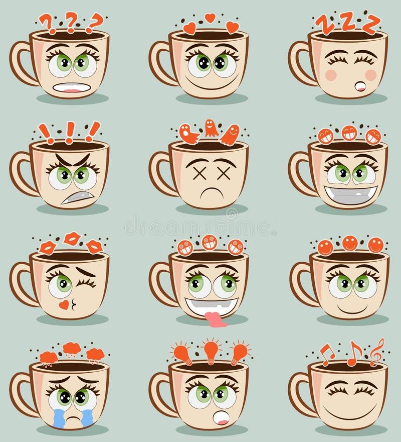 Ställ in av roliga kaffekoppar med olika sinnesrörelser Uppsättning för vektoremojikakao Klistermärkear för logo för kaffekopp ro stock illustrationer