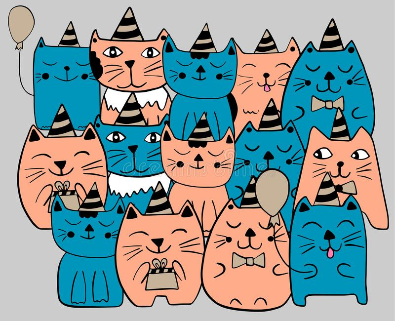 Ställ in av roliga stiliserade katter s?t deltagare f?r mat f?r f?delsedagcakeber?m Bl?tt och orange f?rg Hand dragen klottervekt royaltyfri illustrationer