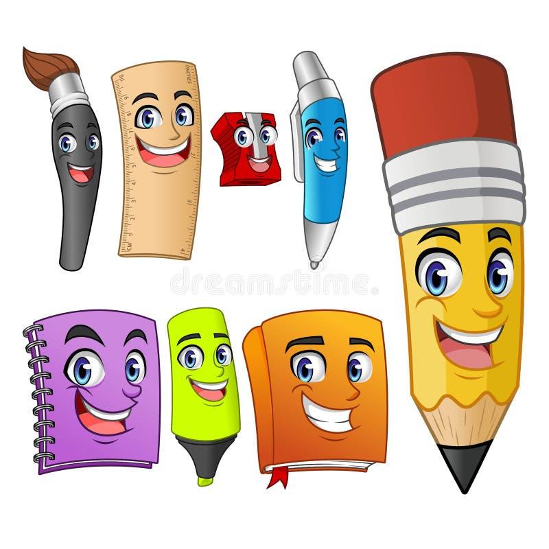 Ställ in av roliga tecknad filmtecken skolar objekttillförsel stock illustrationer