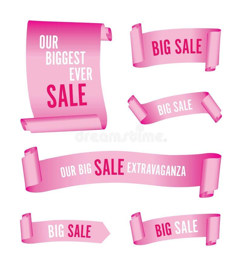 Ställ in av rosa försäljningsbaner stock illustrationer