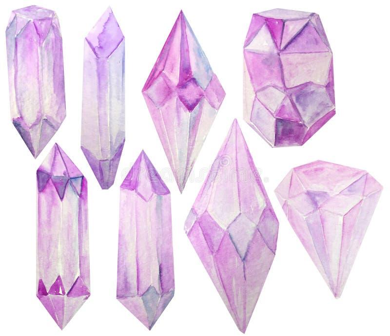 Ställ in av rosa kristaller för vattenfärg på en vit rasterillustration för affischer, tryck, kort stock illustrationer