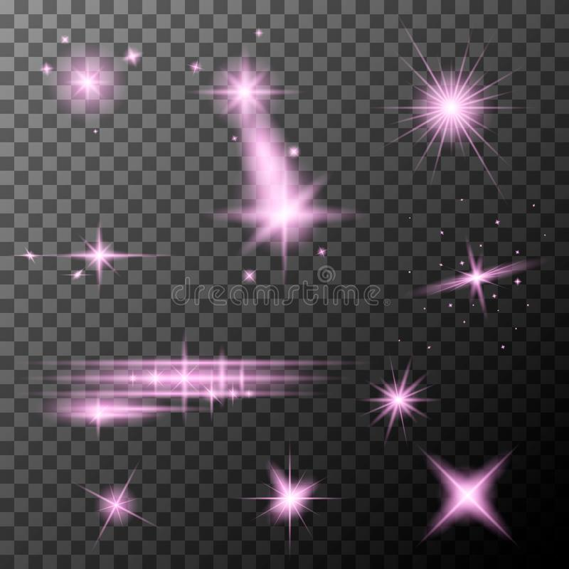 Ställ in av rosa linssignalljus Rosa färgen mousserar special ljus effekt för sken royaltyfri illustrationer