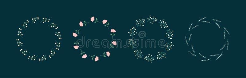 Ställ in av runda blom- ramar Utdragna klotterblommor för hand i plan stil royaltyfri illustrationer