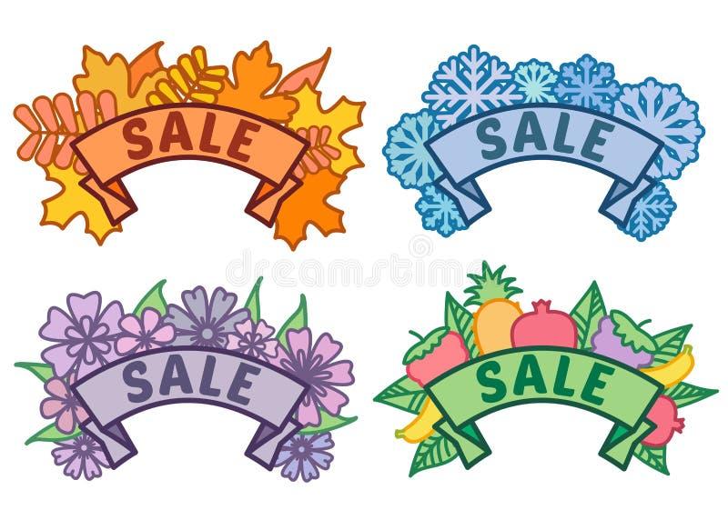 Ställ in av säsongsbetonat försäljningstecken, hösten, vintern, våren, sommarförsäljningstecken på band utan bakgrund, samling av stock illustrationer