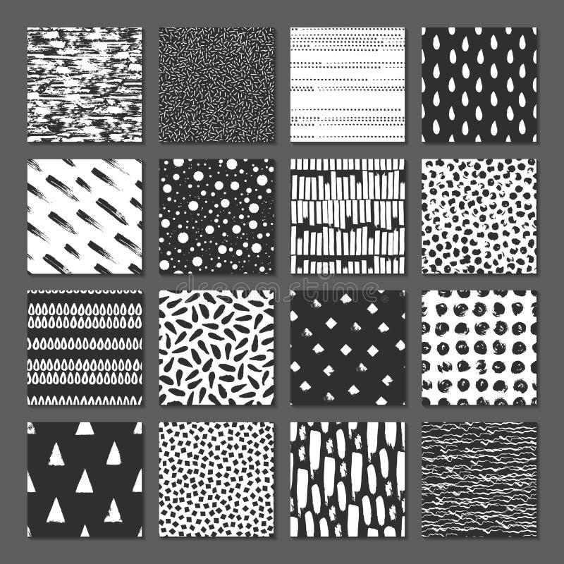 Ställ in av sömlös modell 16 Droppar pekar, fodrar, gör randig, cirklar, fyrkanter, rektanglar stock illustrationer