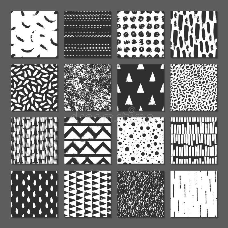 Ställ in av sömlös modell 16 Droppar pekar, fodrar, gör randig, cirklar, fyrkanter, rektanglar Abstrakt begreppformer som dras en stock illustrationer