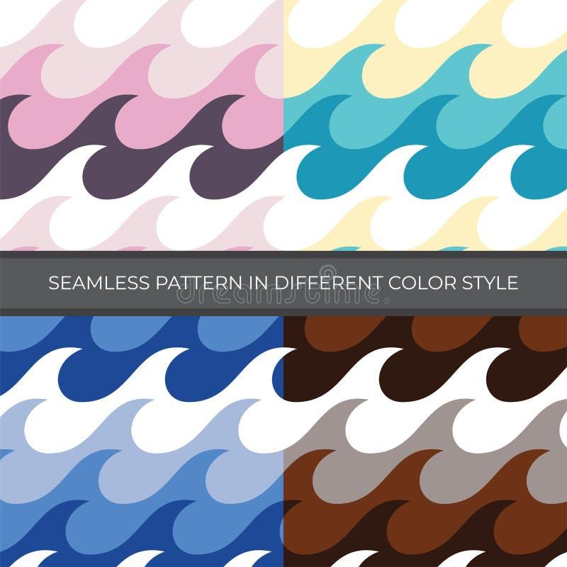 Ställ in av sömlös modell för abstrakt vektor med stil för fyra färg Färg är rosa, grönt, blått, brunt vektor illustrationer