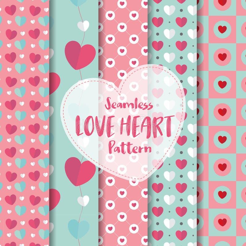Ställ in av sömlös modell för förälskelsehjärta på romantisk pastellfärgad färg ocks? vektor f?r coreldrawillustration vektor illustrationer