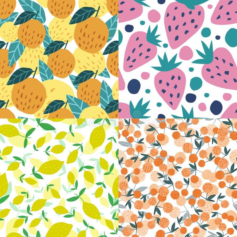 Ställ in av sömlös modell för frukter Körsbärsröda bär, äpplen, citroner, jordgubbar arkivbilder