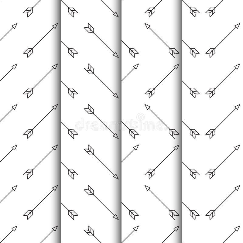 Ställ in av sömlös modell för pilar på vit bakgrund vektor illustrationer
