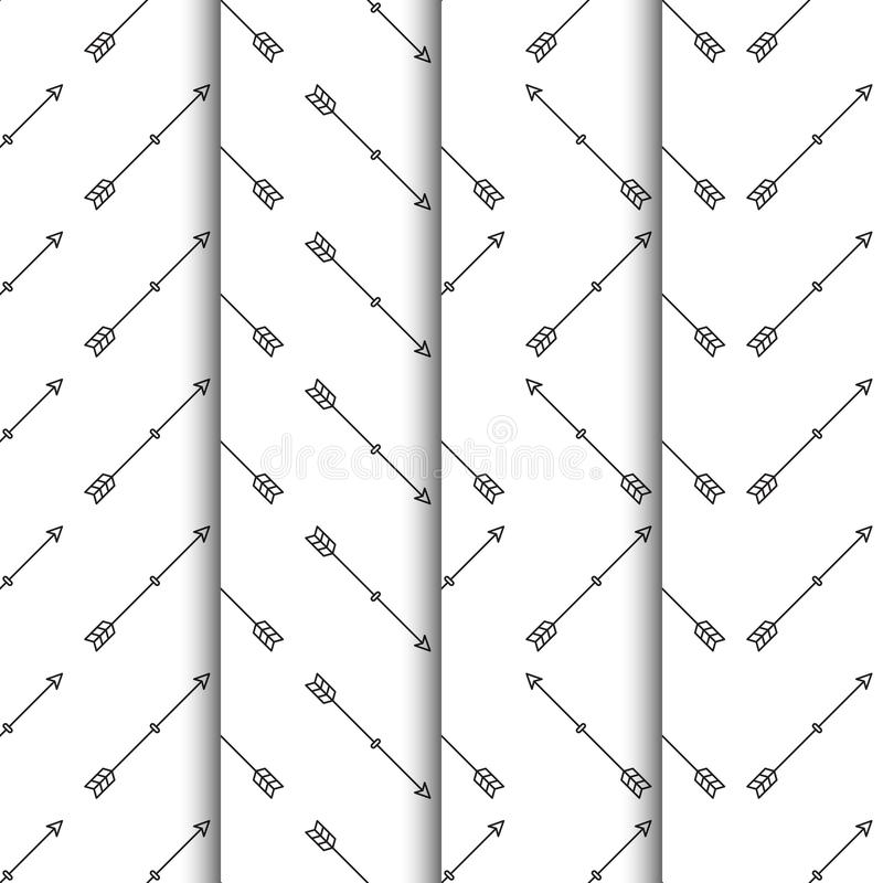 Ställ in av sömlös modell för pilar på vit bakgrund royaltyfri illustrationer