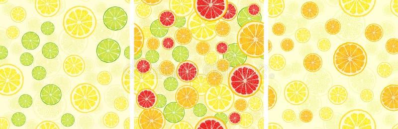 Ställ in av sömlös modell för vektor med fruktskivor stock illustrationer