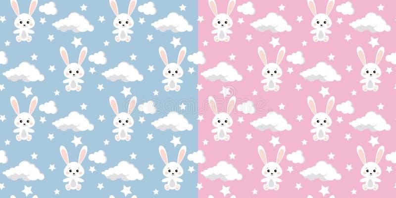Ställ in av sömlös modell för vektor med gullig kanin, moln, stjärnor på blå och rosa bakgrund vektor illustrationer