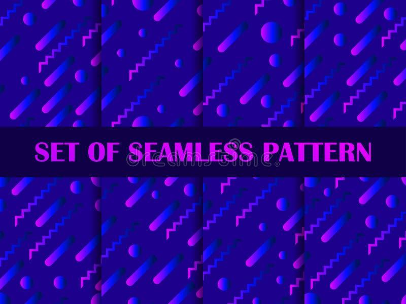 Ställ in av sömlös modell med färgrika vätskeformer Geometriska beståndsdelar med lutning vektor vektor illustrationer
