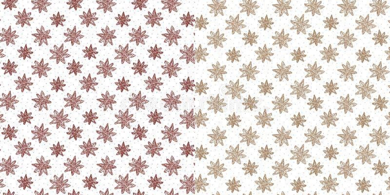Ställ in av sömlös vintermodell med burgundy och brun översiktsstjärnaanis på vit bakgrund stock illustrationer
