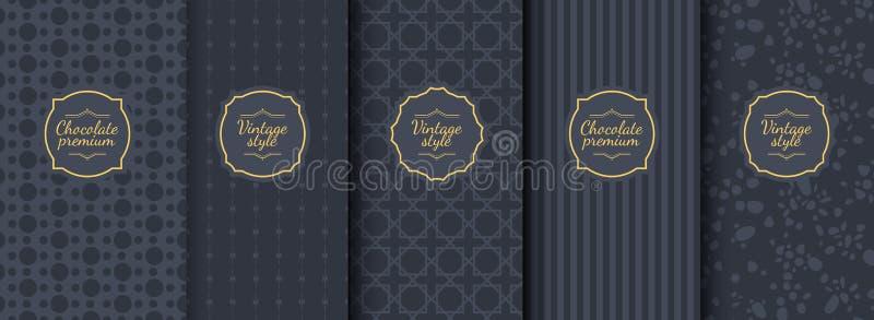 Ställ in av sömlösa bakgrunder för mörk tappning för lyxig förpackande design royaltyfri illustrationer