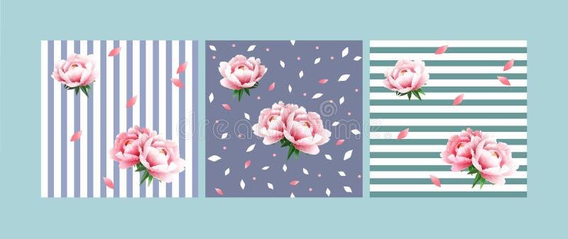 Ställ in av sömlösa blom- modeller med försiktigt rosa pioner på en ljus - blått och ljust - grön bakgrund med vita band royaltyfri illustrationer