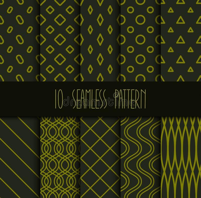 Ställ in av sömlösa geometriska modeller på grön bakgrund stock illustrationer
