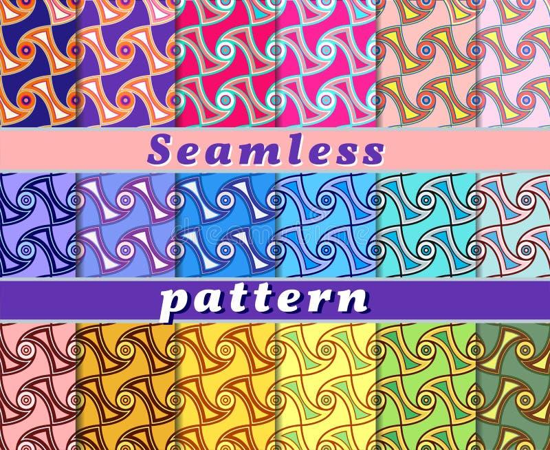 Ställ in av sömlösa modeller för färg med en abstrakt modell av vågor och krullning vektor illustrationer