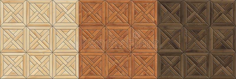 Ställ in av sömlösa texturer för hög upplösning av träparketten Mosaiska trämodeller fotografering för bildbyråer