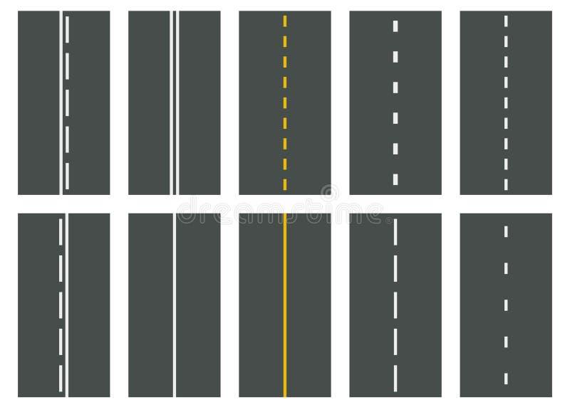 Ställ in av sömlösa vägtyper övre sikt för huvudväg vektor stock illustrationer