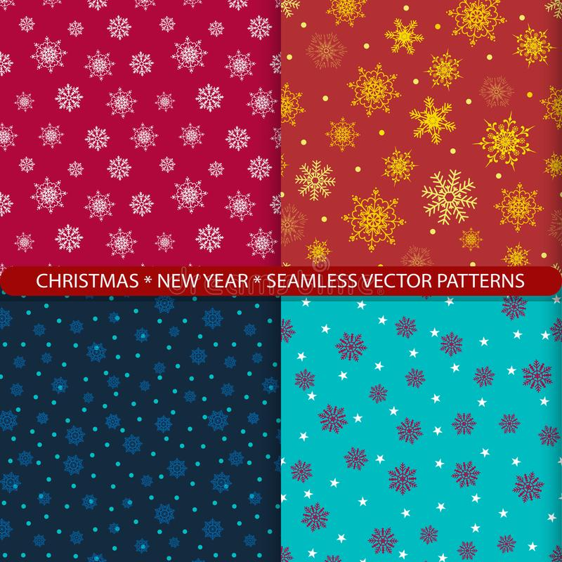 Ställ in av sömlösa vektormodeller med jul och snöflingor för nytt år Tryck f?r textiler Tryck för nytt års dräkt Design f vektor illustrationer