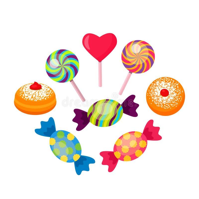 Ställ in av söta mångfärgade godisar och karamell med donuts vektor illustrationer