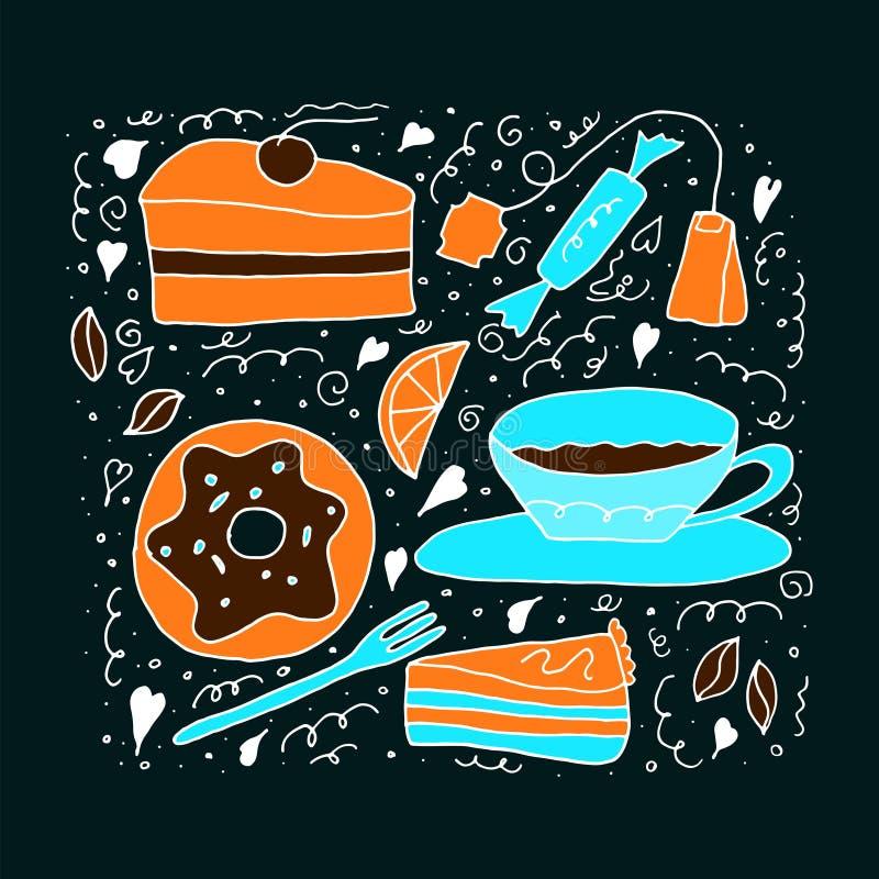 Ställ in av söta material Kakor, donuts, te och sötsaker Vektorn ställde in i csrtoonklotterstil royaltyfri illustrationer